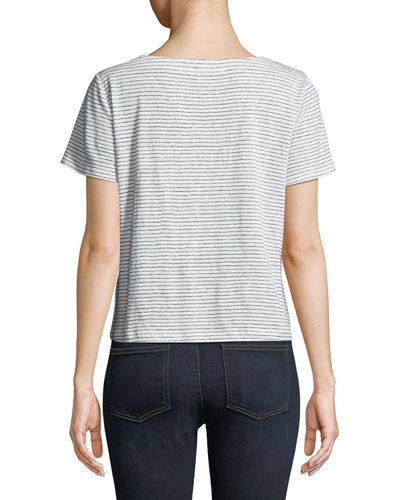Short-Sleeve Mini-Stripe Linen Jersey Tee