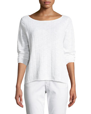 Eileen Fisher Organic Linen/Cotton Knit Box Top, Petite