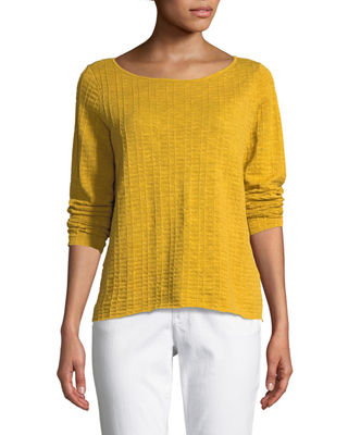 Eileen Fisher Organic Linen/Cotton Knit Box Top, Plus