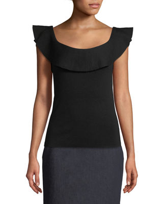 Elie Tahari Shaelynn Ruffled-Trim Sleeveless Sweater