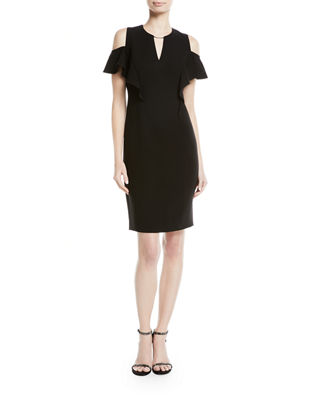 Elie Tahari Johari Ruffle-Sleeve Sheath Dress