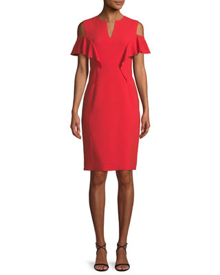 Johari Ruffle-Sleeve Sheath Dress