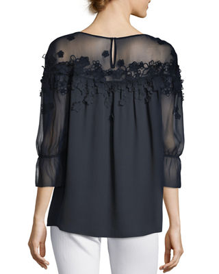 Image 2 of 3: Neila Sheer Floral Blouse