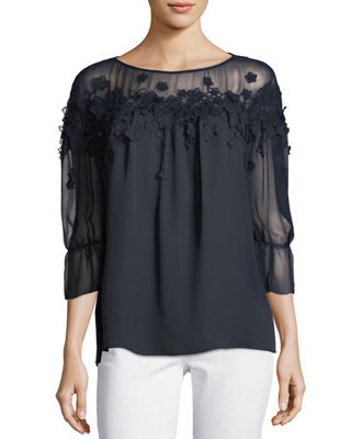 Image 1 of 3: Neila Sheer Floral Blouse