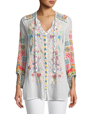 Johnny Was Nikolita Embroidered Blouse , Plus Size