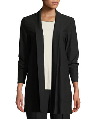 Eileen Fisher Stretch-Crepe Open-Front Long Jacket, Petite