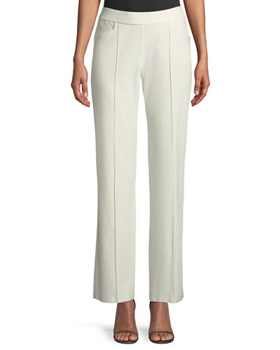 Washable Stretch-Crepe Slim Boot-Cut Seam Pants