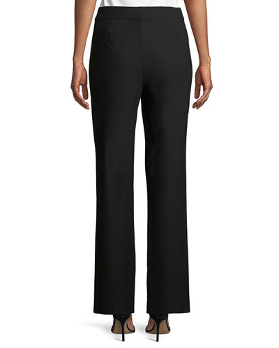 Washable Stretch-Crepe Slim Boot-Cut Seam Pants, Petite