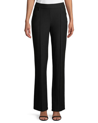 Washable Stretch-Crepe Slim Boot-Cut Seam Pants, Plus Size