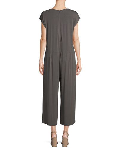 Lightweight Viscose Jersey Cap-Sleeve Jumpsuit, Plus Size