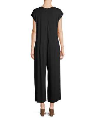 Image 3 of 4: Lightweight Viscose Jersey Cap-Sleeve Jumpsuit