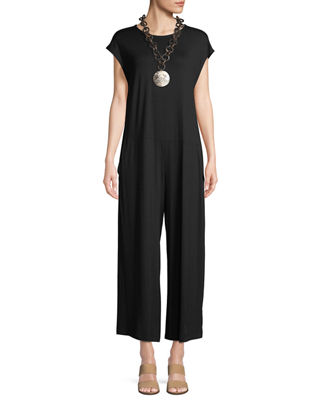 Eileen Fisher Lightweight Viscose Jersey Cap-Sleeve Jumpsuit
