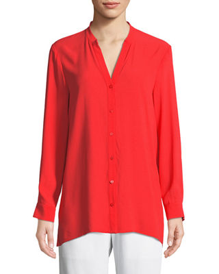 Silk Georgette Crepe Button-Front Top, Petite
