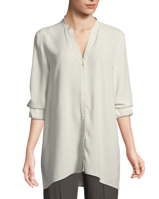 Eileen Fisher Silk Georgette Crepe Button-Front Top, Plus