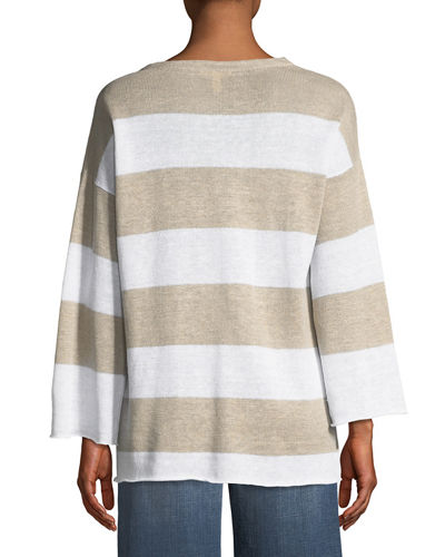 Organic Linen Striped Knit Top, Petite