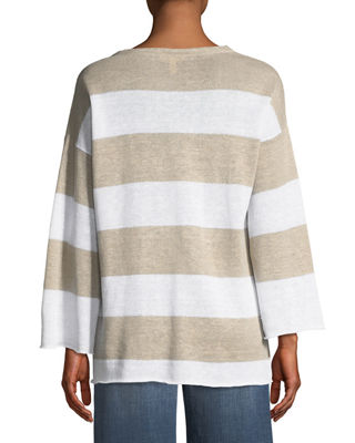 Image 2 of 2: Organic Linen Striped Knit Top, Plus Size