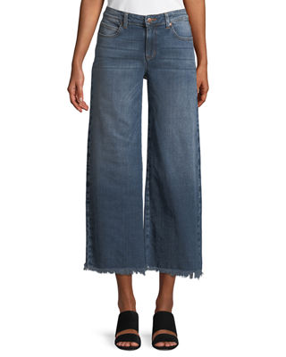 Organic Cotton Stretch-Denim Wide-Leg Ankle Jeans with Raw Edges