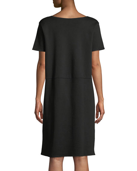 Image 3 of 3: Eileen Fisher Stretch Ponte Short-Sleeve Dress