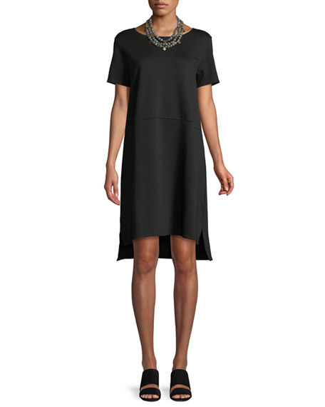 Image 1 of 3: Eileen Fisher Stretch Ponte Short-Sleeve Dress