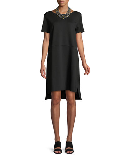 Eileen Fisher Stretch Ponte Short-Sleeve Dress, Petite