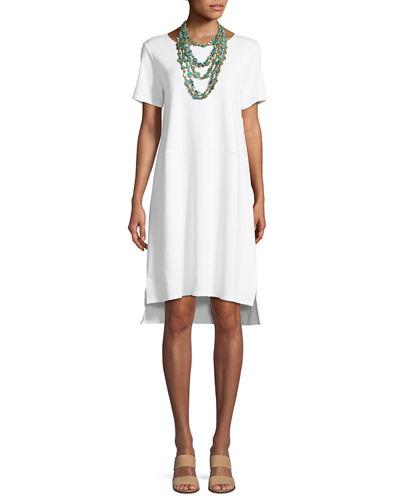 Stretch Ponte Short-Sleeve Dress, Petite