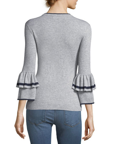 Ruffle-Cuff Rib-Knit Wool Sweater