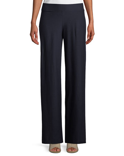 Washable Stretch Crepe Modern Straight-Leg Pants
