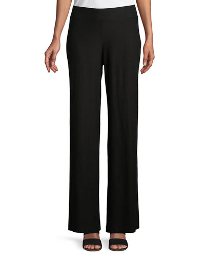 Washable Stretch Crepe Modern Straight-Leg Pants, Petite