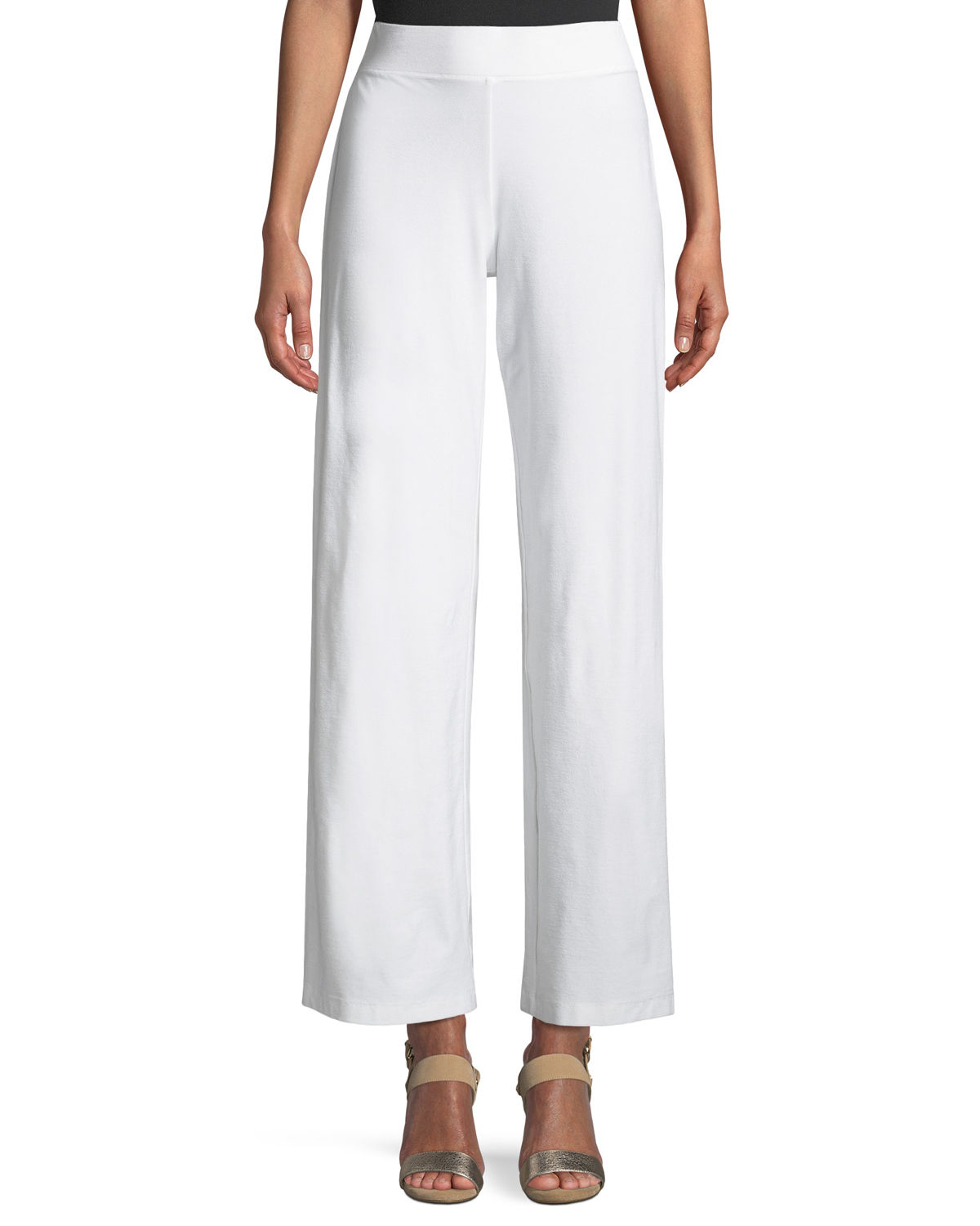 Eileen Fisher Petite Washable Stretch Crepe Modern Straight-Leg Pants