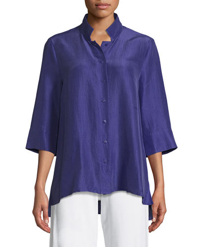 Eileen Fisher 3/4-Sleeve Silk Doupioni Shirt and Matching