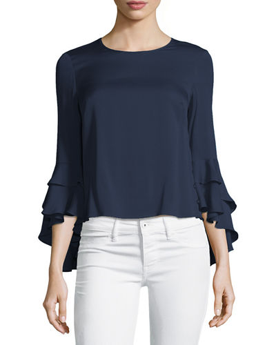 Milly Gabby Silk Ruffle-Sleeve Top