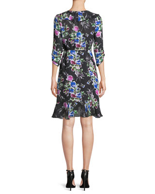 Image 3 of 4: Audrey Rose-Print Georgette Wrap Dress