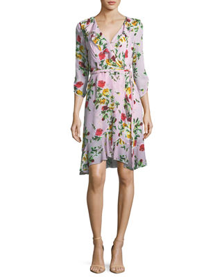 Audrey Rose-Print Georgette Wrap Dress