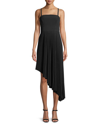 Milly Eliza Italian Cady Pleated Asymmetric Dress
