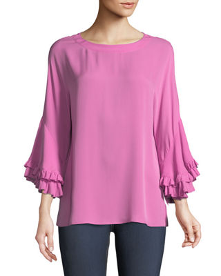 Image 1 of 3: Luanne Ruffle-Sleeve Relaxed Top