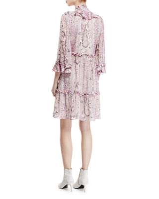 Andrea Silk Self-Tie Paisley Dress