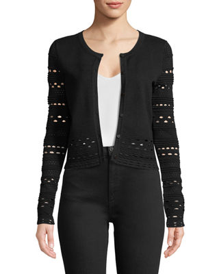 Milly Lace-Cutout Knit Cardigan