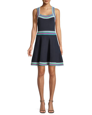 Multicolor-Trim Flare Dress