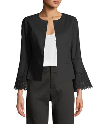 Kobi Halperin Neve Lace-Back Long-Sleeve Jacket