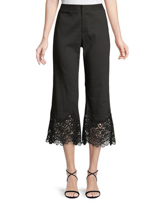 Kobi Halperin Kelly Lace-Cuff Crop Pants