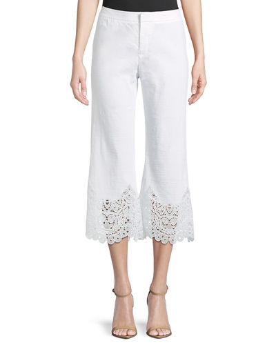Kelly Lace-Cuff Crop Pants