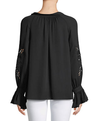 Image 2 of 3: Peggy Lace-Embroidered Silk Blouse