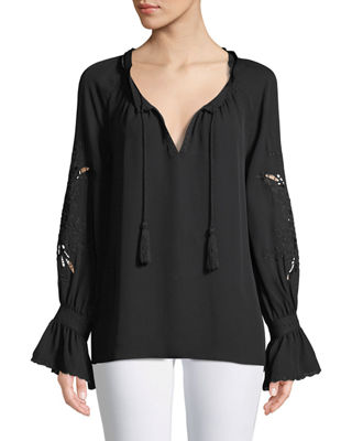 Image 1 of 3: Peggy Lace-Embroidered Silk Blouse