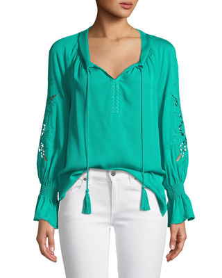 Peggy Lace-Embroidered Silk Blouse