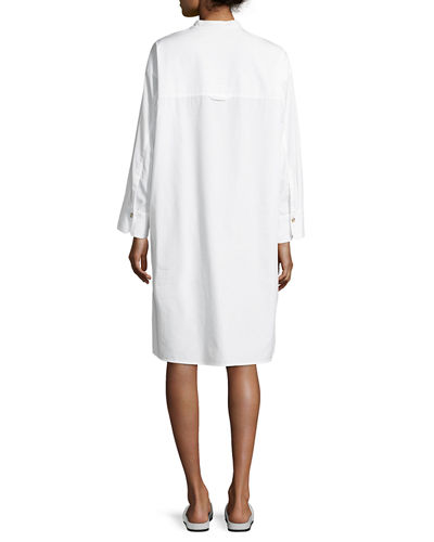 Utility Cotton Long-Sleeve Shirt Dress