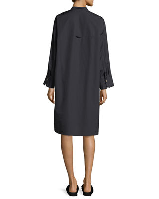 Image 2 of 2: Utility Cotton Long-Sleeve Shirt Dress
