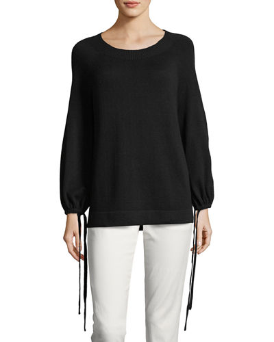 Vince Cashmere Scrunch-Sleeve Pullover Top and Matching Items
