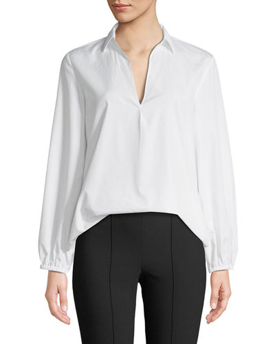 Vince Swing-Front Pullover Long-Sleeve Top and Matching Items
