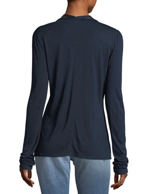 V-Neck Long-Sleeve Tie Tee