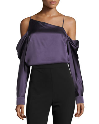 Amelia Asymmetric Silk Satin Blouse